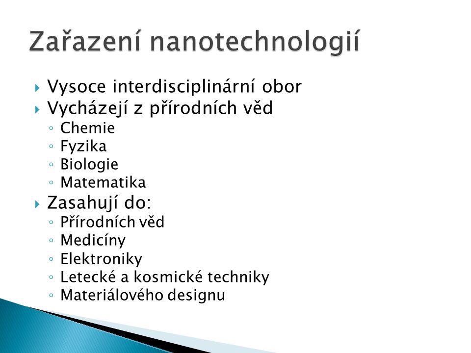  Vysoce interdisciplinární obor  Vycházejí z přírodních věd ◦ Chemie ◦ Fyzika ◦ Biologie ◦ Matematika  Zasahují do: ◦ Přírodních věd ◦ Medicíny ◦ E