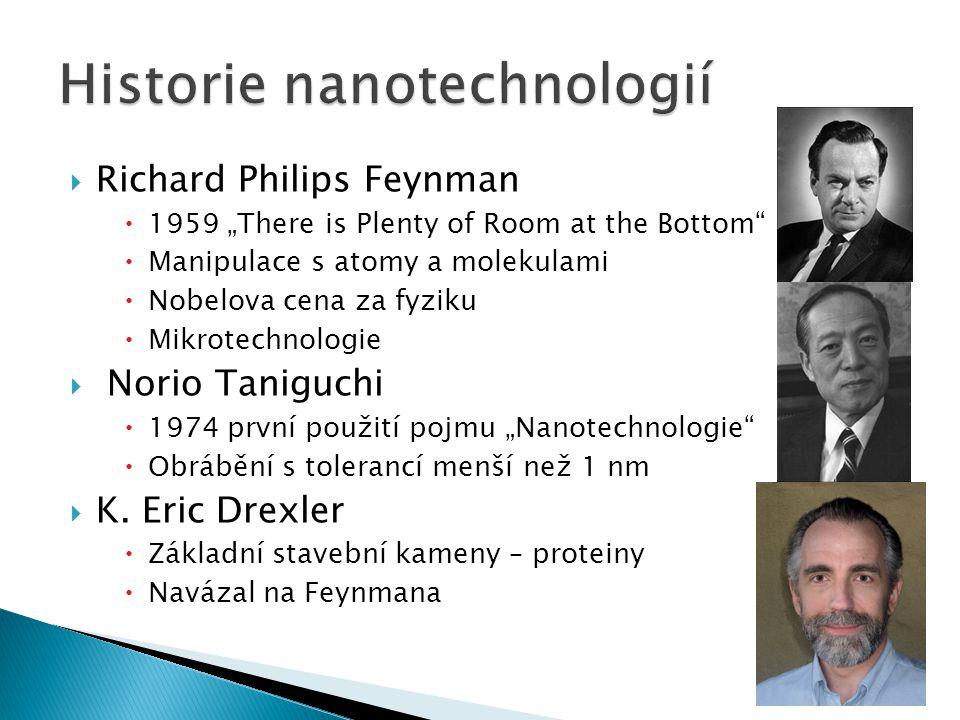 " Richard Philips Feynman  1959 ""There is Plenty of Room at the Bottom""  Manipulace s atomy a molekulami  Nobelova cena za fyziku  Mikrotechnologi"