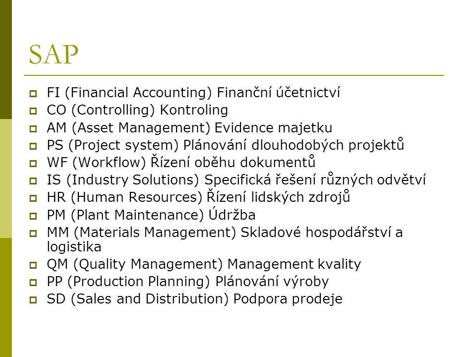 SAP  FI (Financial Accounting) Finanční účetnictví  CO (Controlling) Kontroling  AM (Asset Management) Evidence majetku  PS (Project system) Plánování dlouhodobých projektů  WF (Workflow) Řízení oběhu dokumentů  IS (Industry Solutions) Specifická řešení různých odvětví  HR (Human Resources) Řízení lidských zdrojů  PM (Plant Maintenance) Údržba  MM (Materials Management) Skladové hospodářství a logistika  QM (Quality Management) Management kvality  PP (Production Planning) Plánování výroby  SD (Sales and Distribution) Podpora prodeje