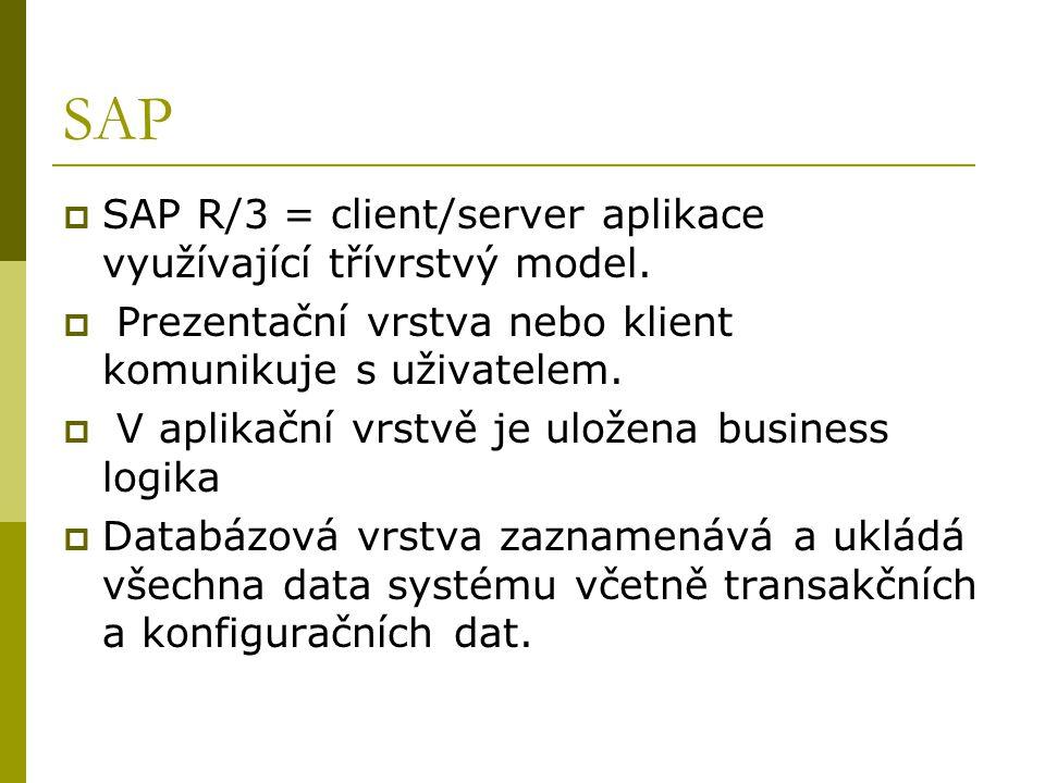 SAP  SAP R/3 = client/server aplikace využívající třívrstvý model.