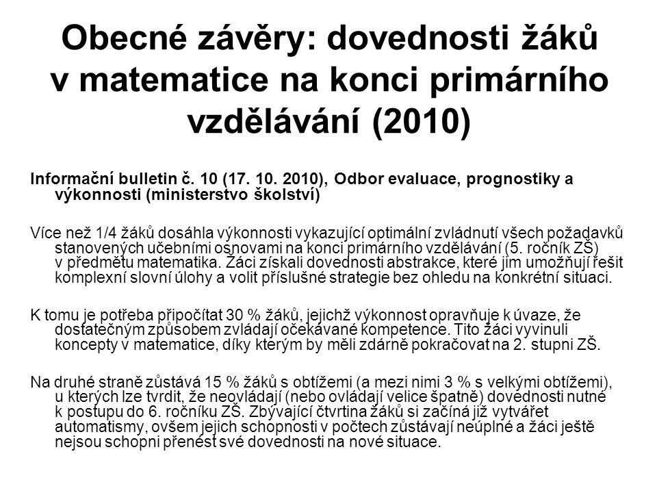 Obecné závěry: dovednosti žáků v matematice na konci primárního vzdělávání (2010) Informační bulletin č.