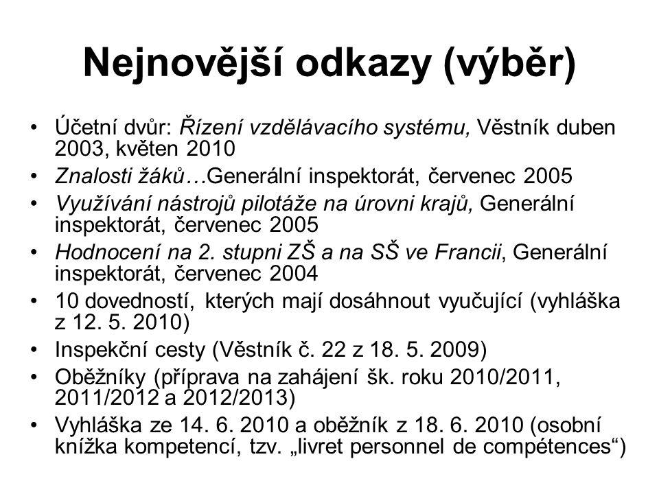 Nejnovější odkazy (výběr) Účetní dvůr: Řízení vzdělávacího systému, Věstník duben 2003, květen 2010 Znalosti žáků…Generální inspektorát, červenec 2005 Využívání nástrojů pilotáže na úrovni krajů, Generální inspektorát, červenec 2005 Hodnocení na 2.