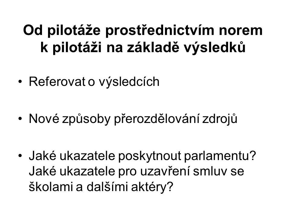 Od pilotáže prostřednictvím norem k pilotáži na základě výsledků Referovat o výsledcích Nové způsoby přerozdělování zdrojů Jaké ukazatele poskytnout parlamentu.
