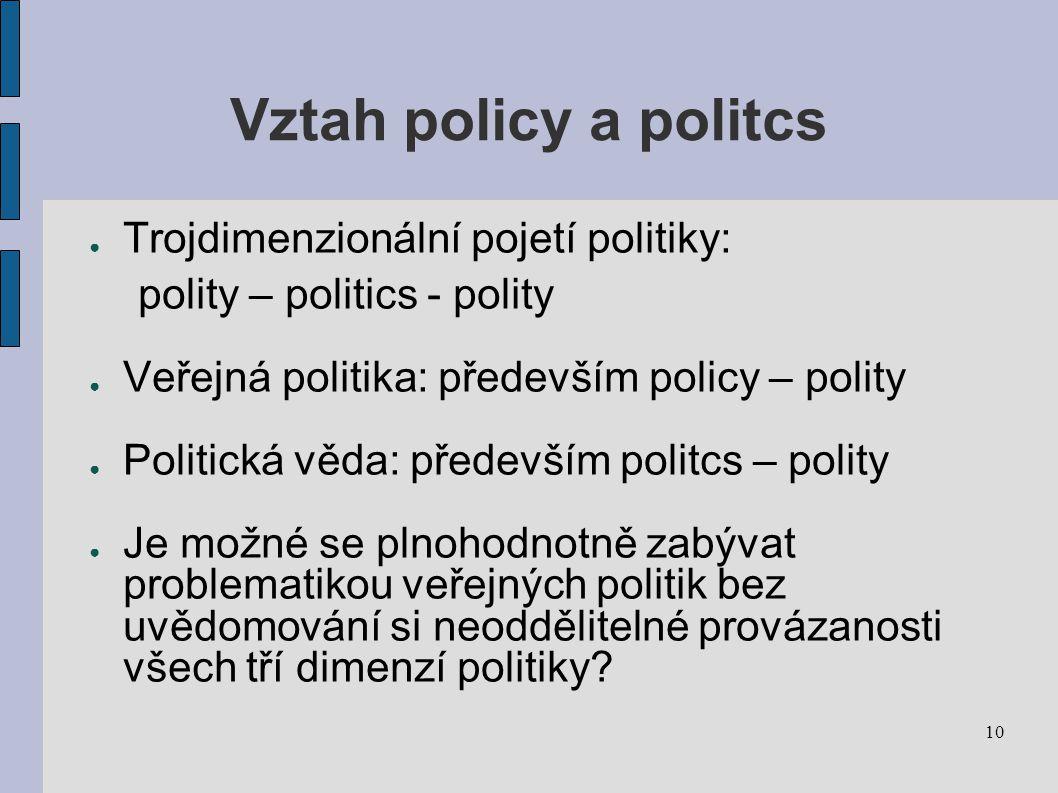 10 Vztah policy a politcs ● Trojdimenzionální pojetí politiky: polity – politics - polity ● Veřejná politika: především policy – polity ● Politická věda: především politcs – polity ● Je možné se plnohodnotně zabývat problematikou veřejných politik bez uvědomování si neoddělitelné provázanosti všech tří dimenzí politiky?