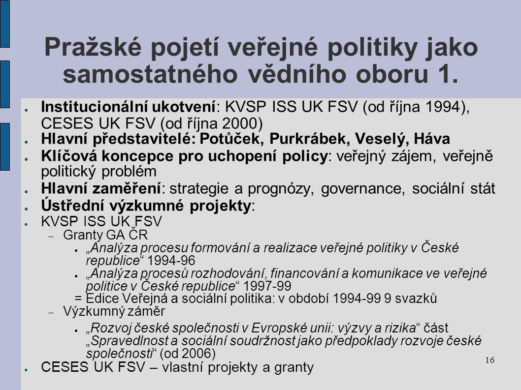16 Pražské pojetí veřejné politiky jako samostatného vědního oboru 1.