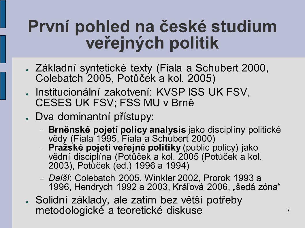 3 První pohled na české studium veřejných politik ● Základní syntetické texty (Fiala a Schubert 2000, Colebatch 2005, Potůček a kol.