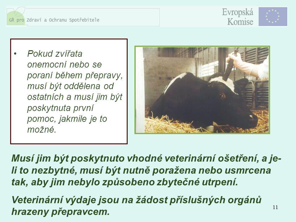 11 Pokud zvířata onemocní nebo se poraní během přepravy, musí být oddělena od ostatních a musí jim být poskytnuta první pomoc, jakmile je to možné. Mu