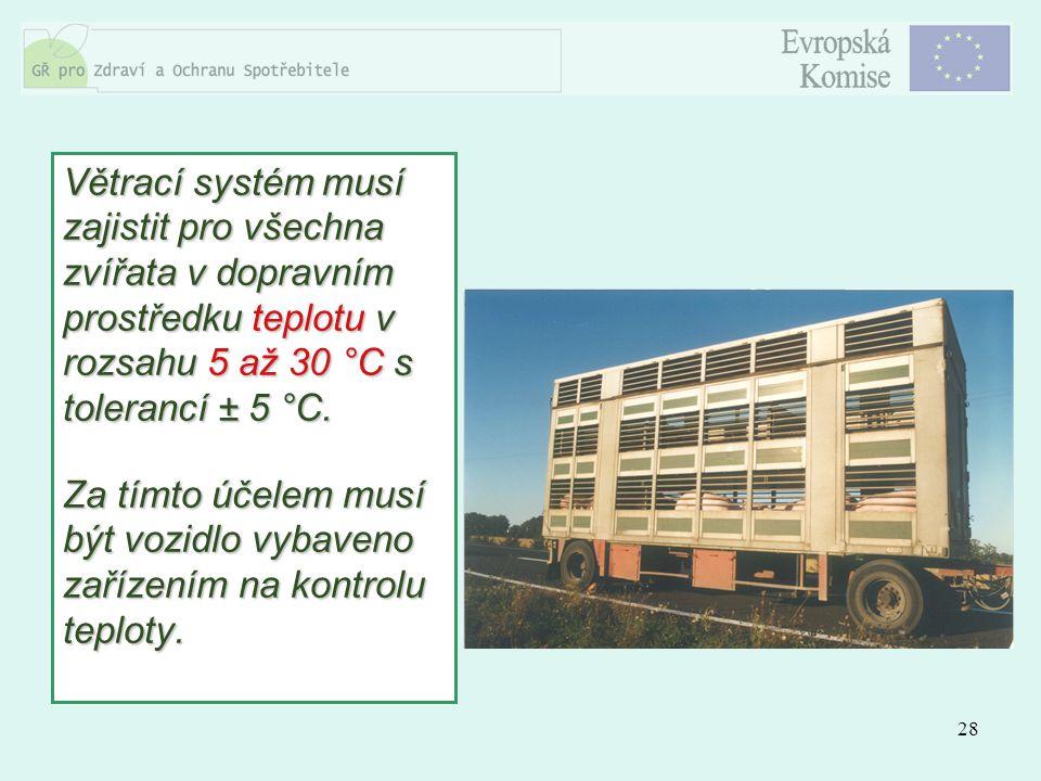 28 Větrací systém musí zajistit pro všechna zvířata v dopravním prostředku teplotu v rozsahu 5 až 30 °C s tolerancí ± 5 °C. Za tímto účelem musí být v