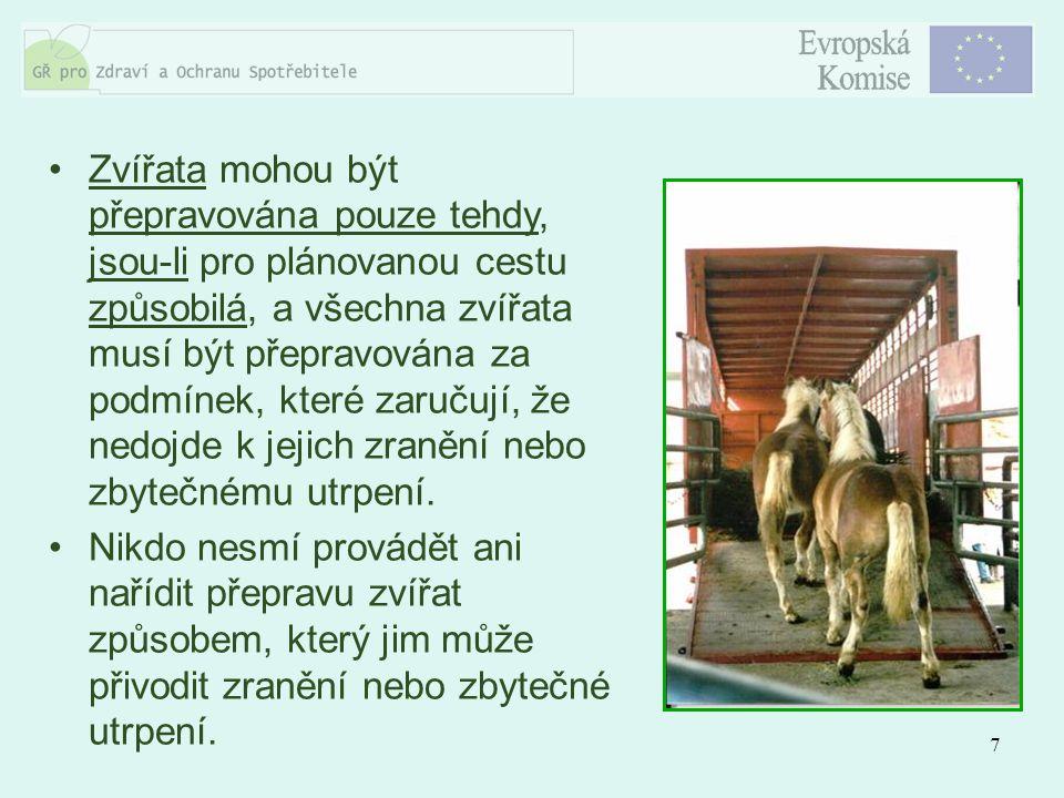 7 Zvířata mohou být přepravována pouze tehdy, jsou-li pro plánovanou cestu způsobilá, a všechna zvířata musí být přepravována za podmínek, které zaruč