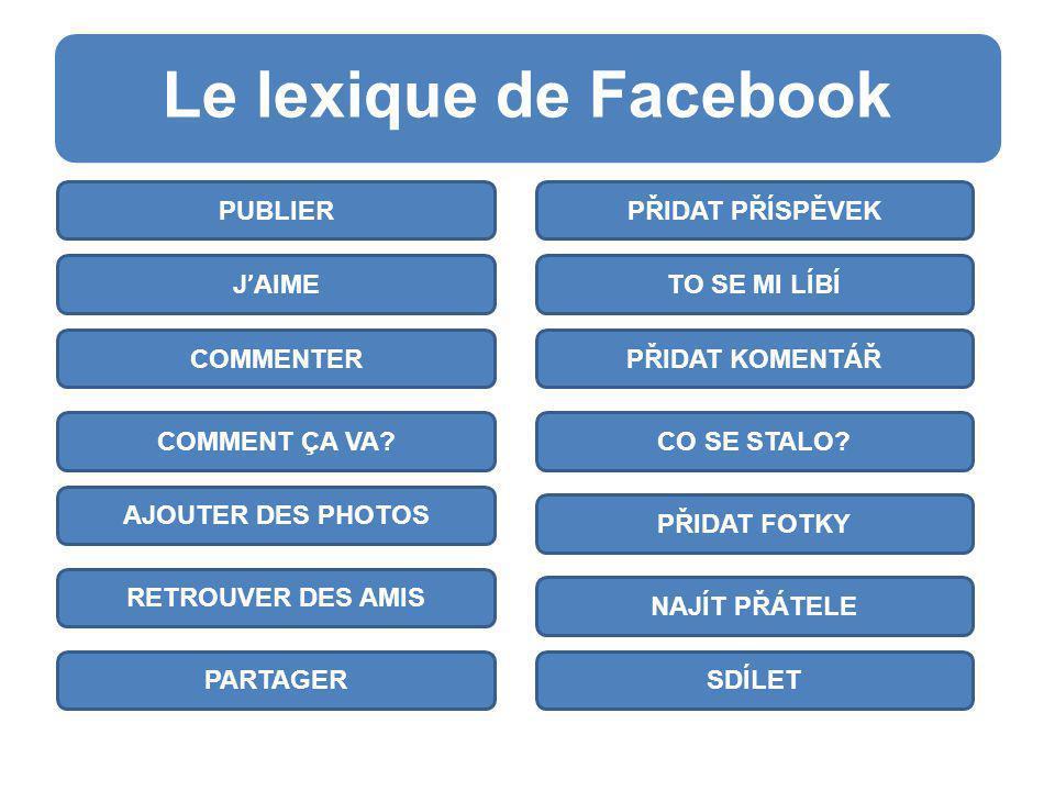 Le lexique de Facebook v ORDRE DÉCONNEXION MOT DE PASSE ADRESSE ÉLECTRONIQUE FAVORIS GROUPES APPLICATIONS SEŘADIT APLIKACE SKUPINY OBLÍBENÉ E-MAIL HESLO ODHLÁSIT SE