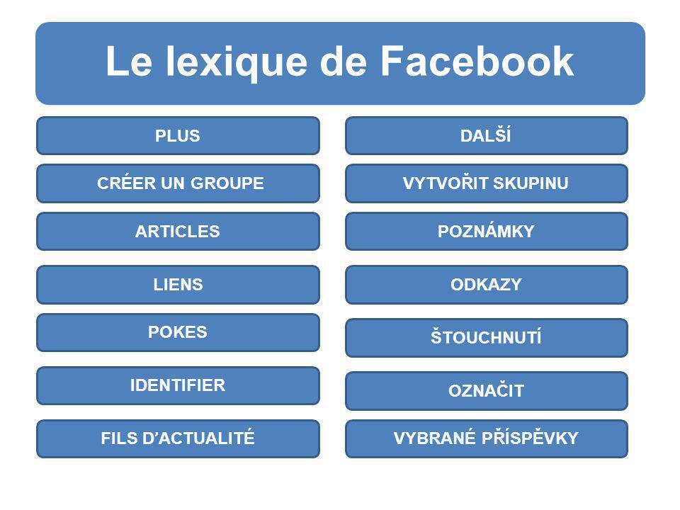 Le lexique de Facebook v DALŠÍ VYTVOŘIT SKUPINU POZNÁMKY ODKAZY ŠTOUCHNUTÍ OZNAČIT VYBRANÉ PŘÍSPĚVKY PLUS FILS D ' ACTUALITÉ IDENTIFIER POKES LIENS ARTICLES CRÉER UN GROUPE