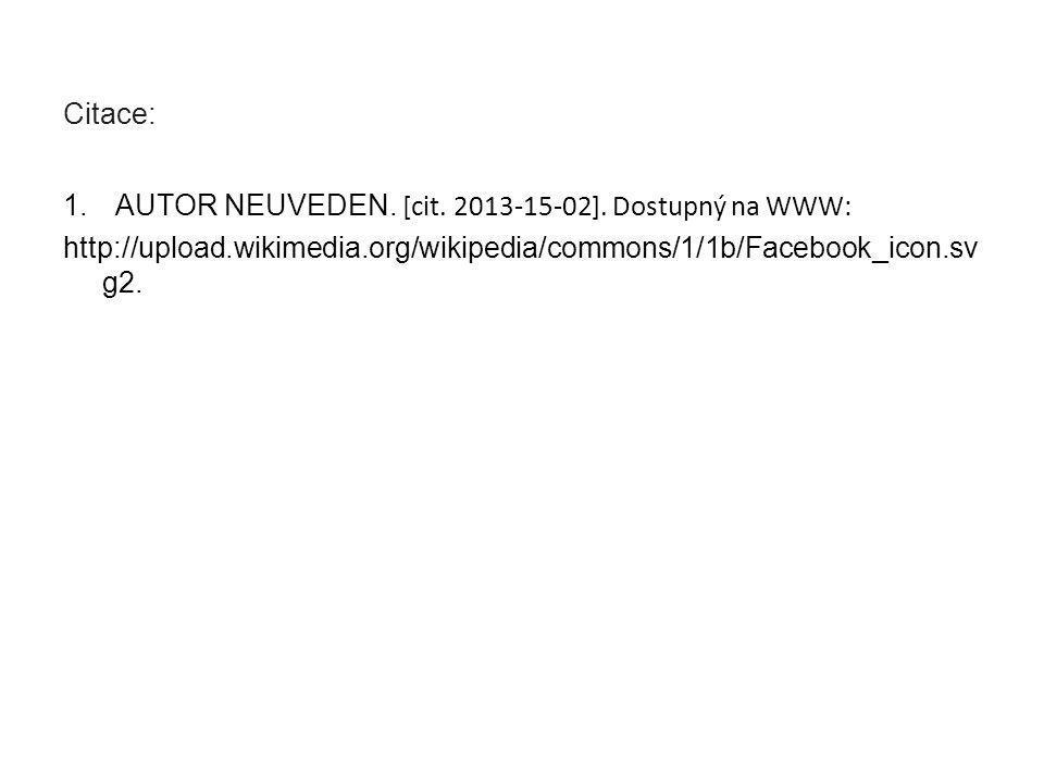 Citace: 1.AUTOR NEUVEDEN.[cit. 2013-15-02].