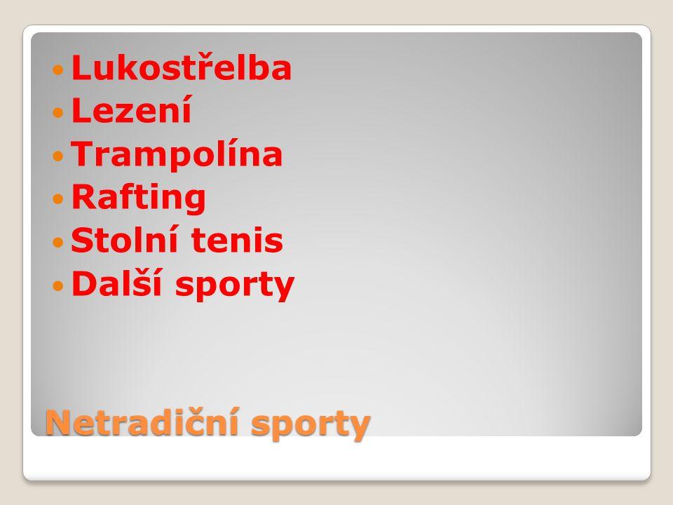 Netradiční sporty Lukostřelba Lezení Trampolína Rafting Stolní tenis Další sporty