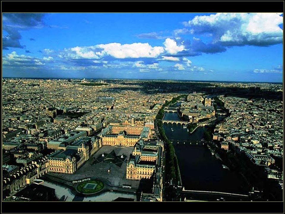 Řeka Seine, její ostrovy a celkový pohled na město. Paris