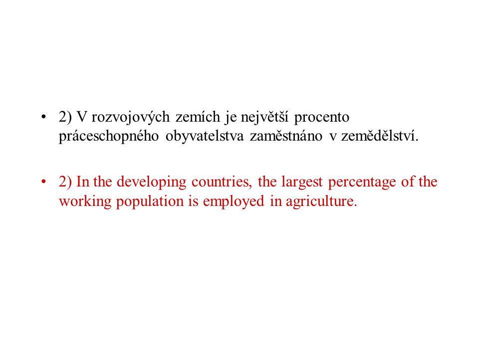2) V rozvojových zemích je největší procento práceschopného obyvatelstva zaměstnáno v zemědělství.