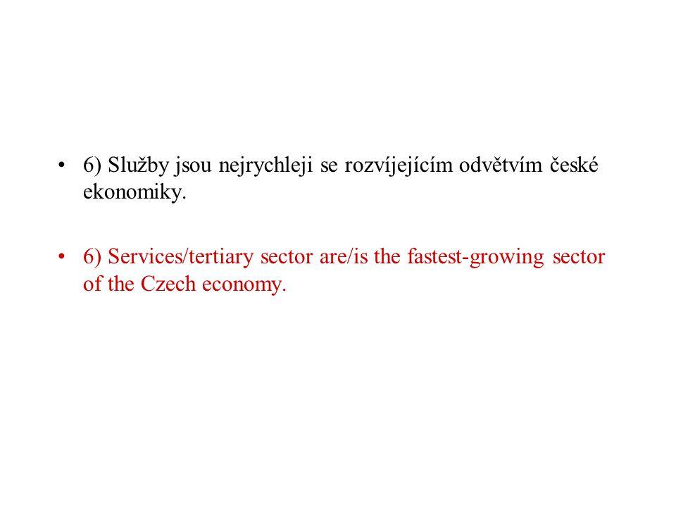 6) Služby jsou nejrychleji se rozvíjejícím odvětvím české ekonomiky.