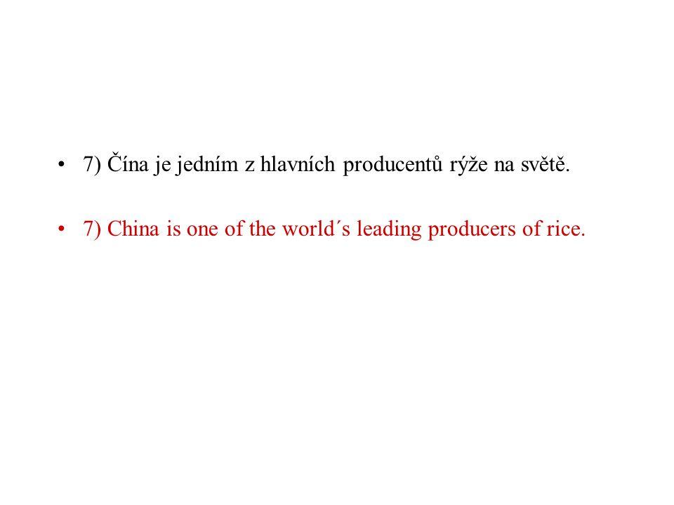 7) Čína je jedním z hlavních producentů rýže na světě.