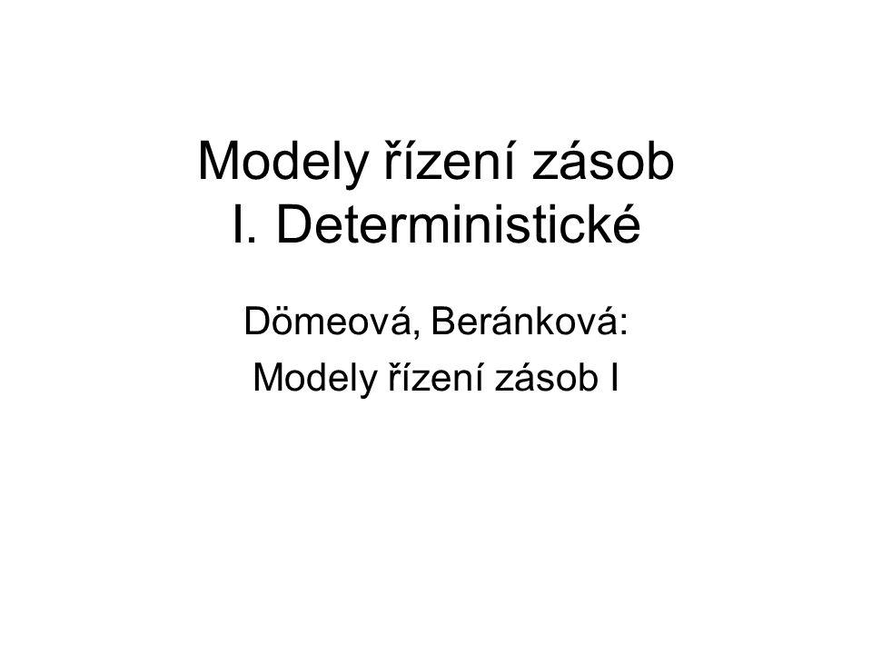 Přehled modelů Optimální velikost objednávky Modely s povoleným nedostatkem Produkčně spotřební modely Just-in-time modely Množstevní slevy