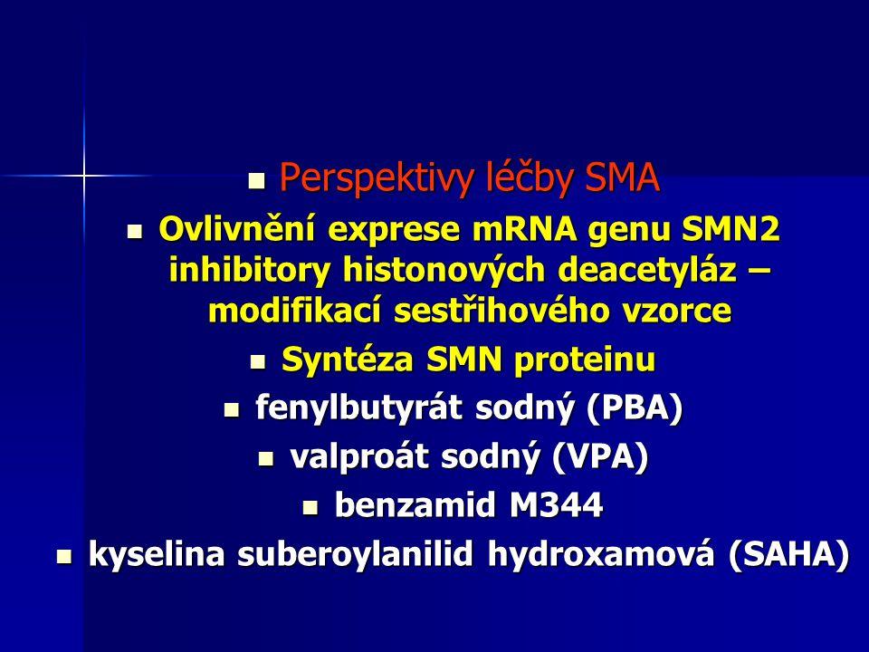 Perspektivy léčby SMA Perspektivy léčby SMA Ovlivnění exprese mRNA genu SMN2 inhibitory histonových deacetyláz – modifikací sestřihového vzorce Ovlivn