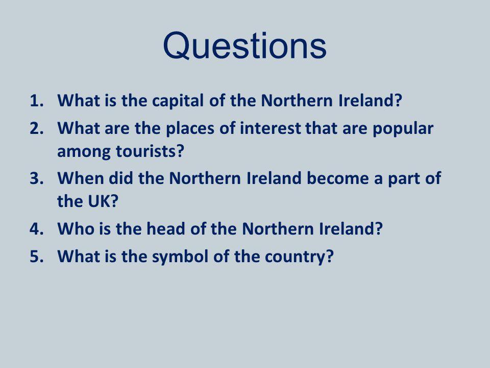 Answer Key 1.Belfast.2.Belfast, Giant s Causeway.