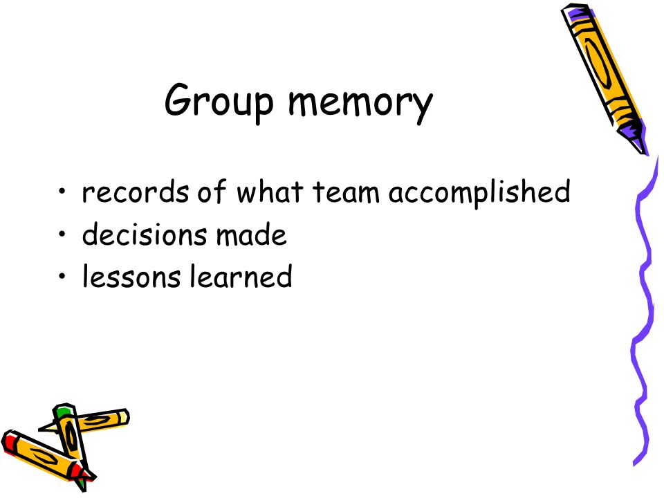 Group memory records of what team accomplished decisions made lessons learned