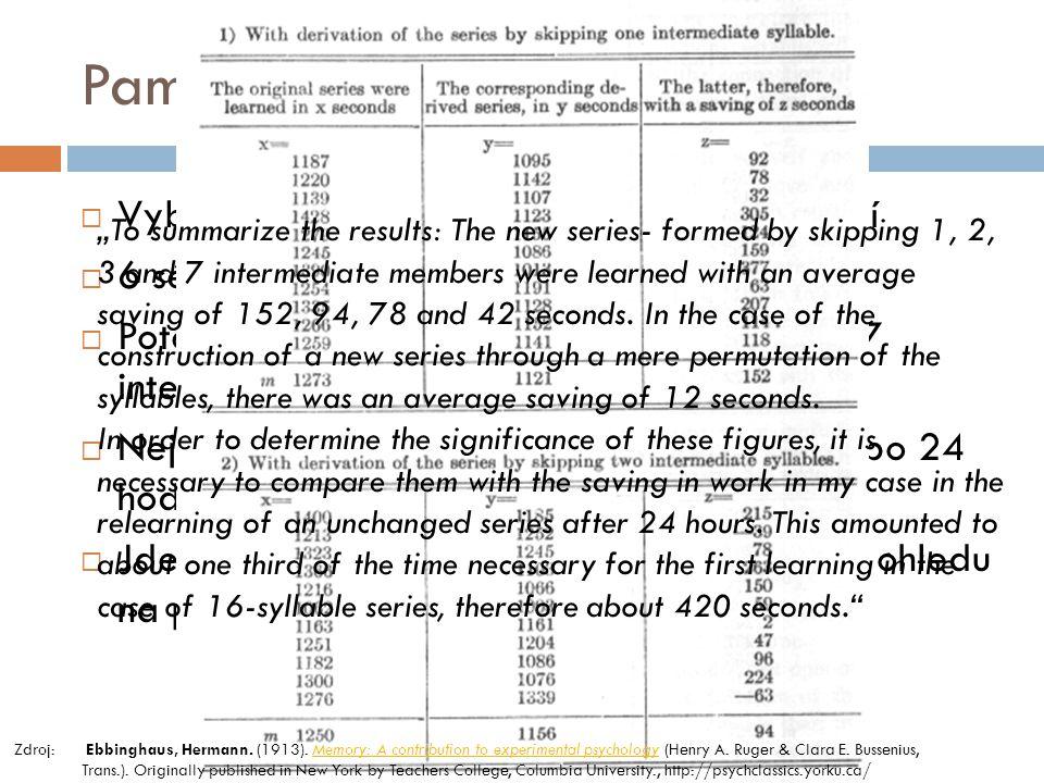 Paměť – Ebbinghaus (1885)  Vybavování podle principu – zákonu asociací  6 sérií po 16 slabikách k zapamatování  Poté stejné série ale odděleny 1, 2