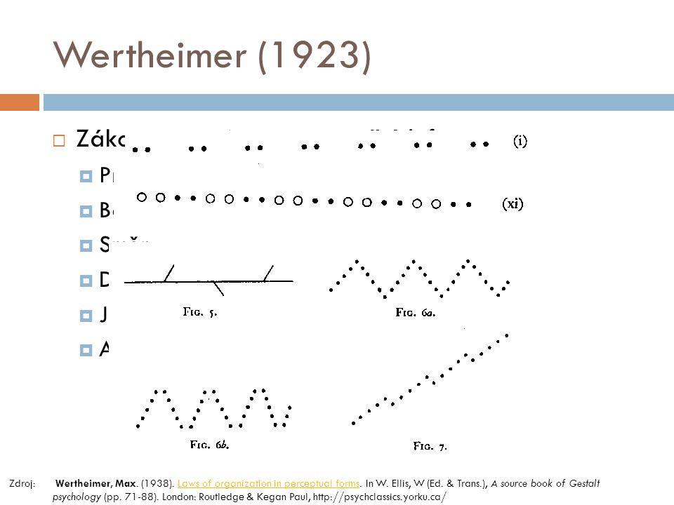 Wertheimer (1923)  Zákony organizace percepčních forem  Proximita  Barva  Směr  Dobrá křivka  Jednoduchost  Atd. Zdroj: Wertheimer, Max. (1938)