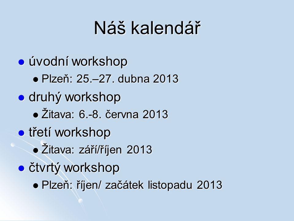 Náš kalendář úvodní workshop úvodní workshop Plzeň: 25.–27. dubna 2013 Plzeň: 25.–27. dubna 2013 druhý workshop druhý workshop Žitava: 6.-8. června 20