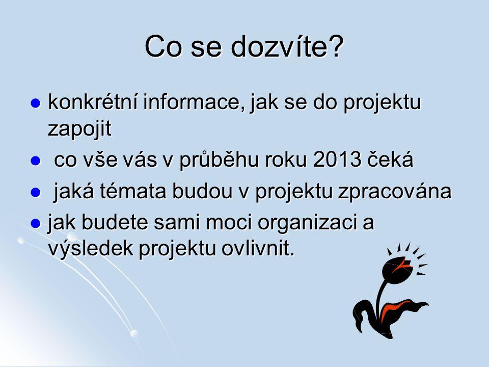 Co se dozvíte? konkrétní informace, jak se do projektu zapojit konkrétní informace, jak se do projektu zapojit co vše vás v průběhu roku 2013 čeká co