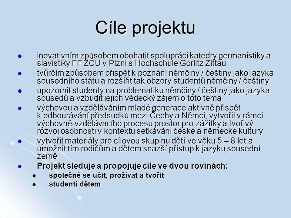 Cíle projektu inovativním způsobem obohatit spolupráci katedry germanistiky a slavistiky FF ZČU v Plzni s Hochschule Görlitz Zittau inovativním způsob