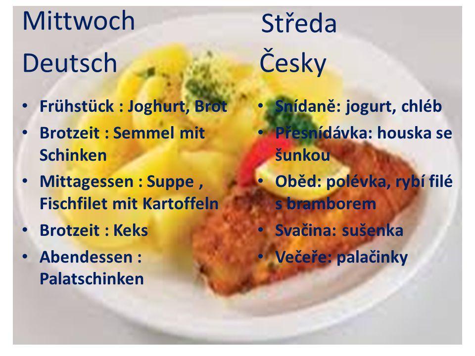 Frühstück : Joghurt, Brot Brotzeit : Semmel mit Schinken Mittagessen : Suppe, Fischfilet mit Kartoffeln Brotzeit : Keks Abendessen : Palatschinken Sní