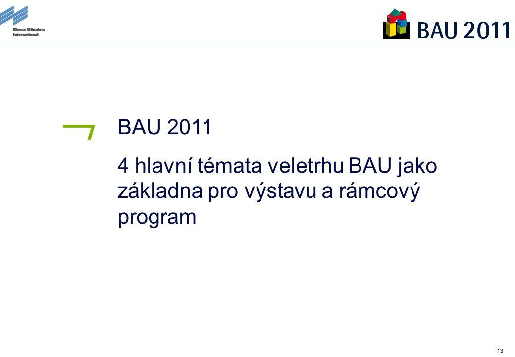 13 BAU 2011 4 hlavní témata veletrhu BAU jako základna pro výstavu a rámcový program