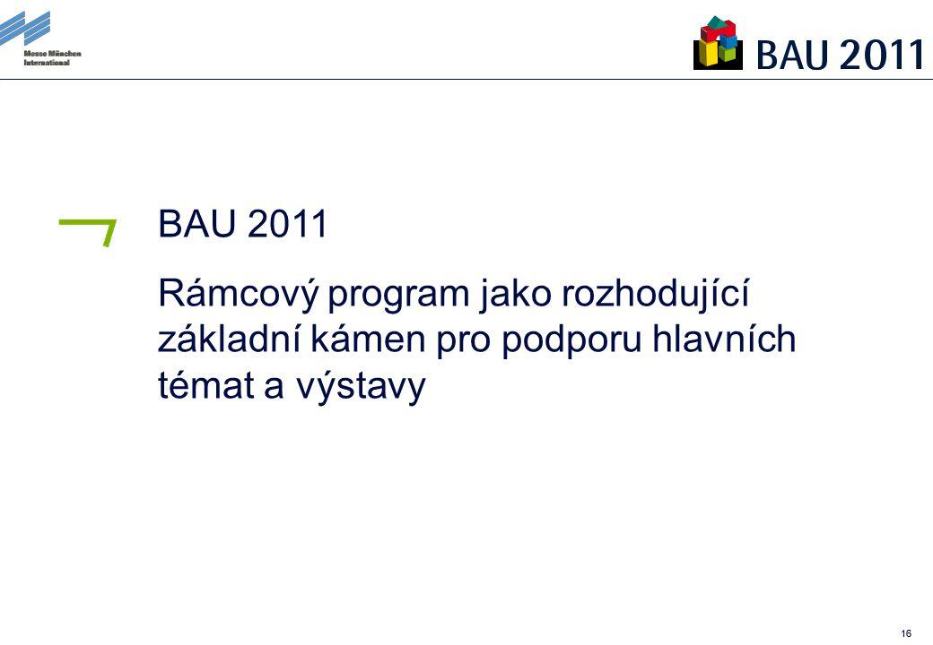 16 BAU 2011 Rámcový program jako rozhodující základní kámen pro podporu hlavních témat a výstavy