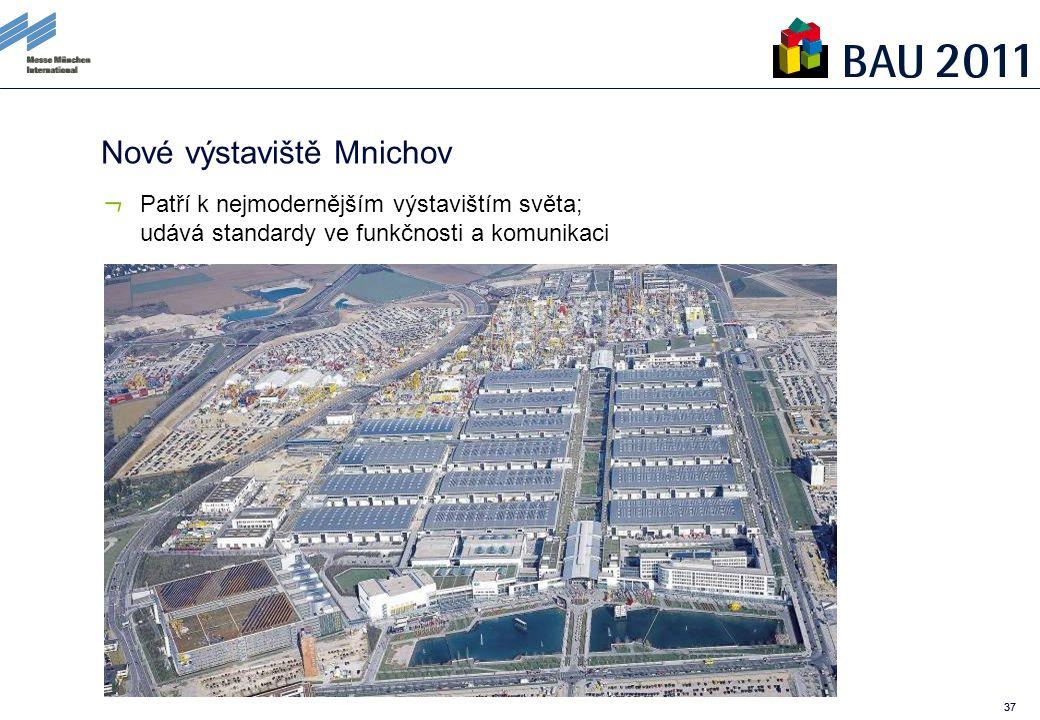 37 Nové výstaviště Mnichov Patří k nejmodernějším výstavištím světa; udává standardy ve funkčnosti a komunikaci