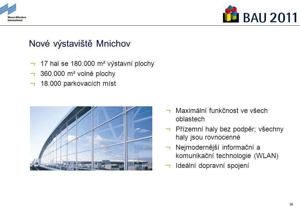 38 Nové výstaviště Mnichov 17 hal se 180.000 m² výstavní plochy 360.000 m² volné plochy 18.000 parkovacích míst Maximální funkčnost ve všech oblastech Přízemní haly bez podpěr; všechny haly jsou rovnocenné Nejmodernější informační a komunikační technologie (WLAN) Ideální dopravní spojení