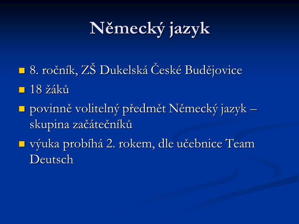 Německý jazyk 8. ročník, ZŠ Dukelská České Budějovice 8.