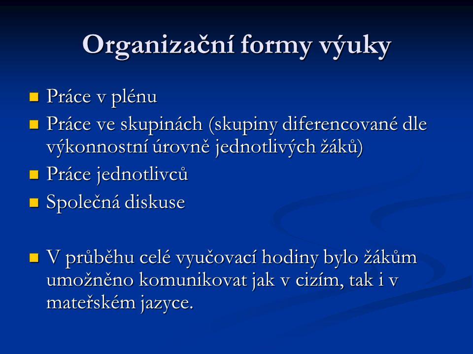 Fáze vyučovací hodiny Úvod do hodiny (představení, motivace, téma) Úvod do hodiny (představení, motivace, téma) Semantizace slovní zásoby (názornost, mluvená i psaná podoba) Semantizace slovní zásoby (názornost, mluvená i psaná podoba) Procvičování slovní zásoby Procvičování slovní zásoby Rozdělení do skupin (pomocí obrázků) Rozdělení do skupin (pomocí obrázků) Samostatná práce skupin (různorodé krátké texty a úkoly pro jednotlivé skupiny) Samostatná práce skupin (různorodé krátké texty a úkoly pro jednotlivé skupiny)