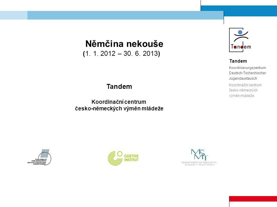 Děkuji Vám za pozornost Zbyšek Brůj Koordinátor projektu Němčina nekouše Koordinační centrum česko-německých výměn mládeže Tandem Sedláčkova 31, CZ-306 14 Plzeň Tel.: +420 377 634 764, Fax: +420 377 634 752 bruj@tandem.adam.cz www.nemcina-nekouse.cz www.tandem-info.net