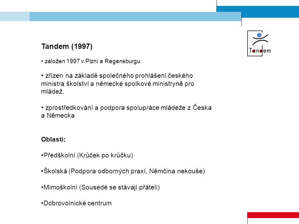 Tandem (1997) založen 1997 v Plzni a Regensburgu zřízen na základě společného prohlášení českého ministra školství a německé spolkové ministryně pro mládež.