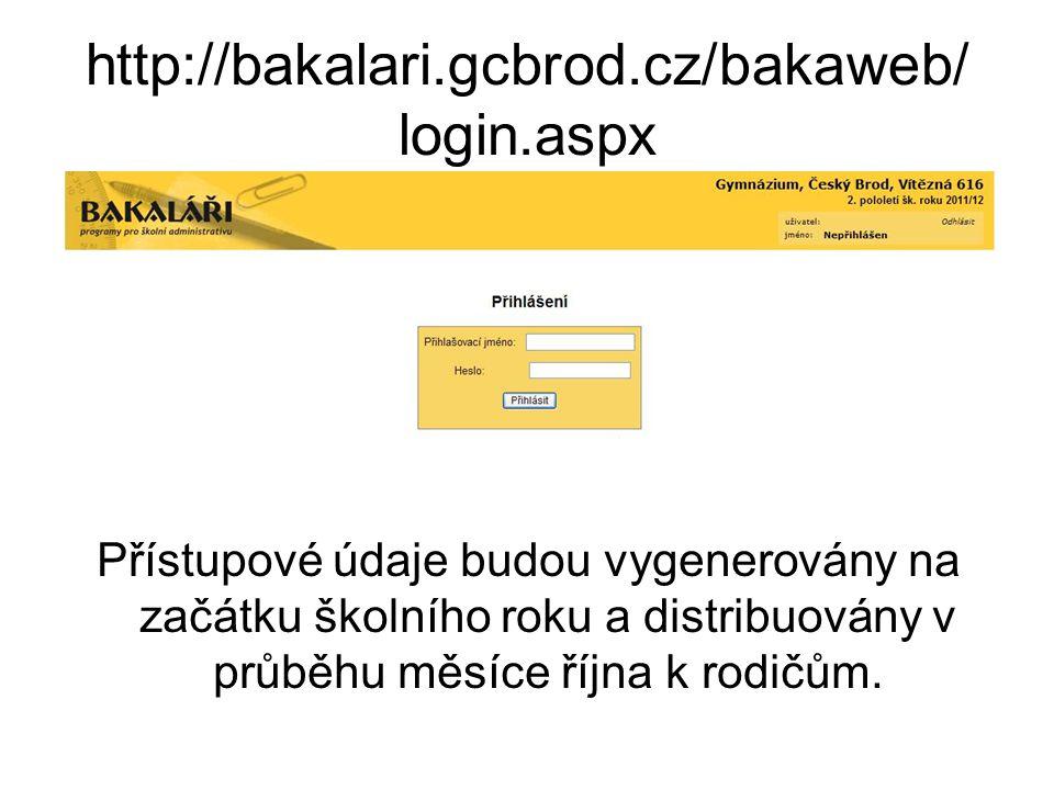 http://bakalari.gcbrod.cz/bakaweb/ login.aspx Přístupové údaje budou vygenerovány na začátku školního roku a distribuovány v průběhu měsíce října k ro
