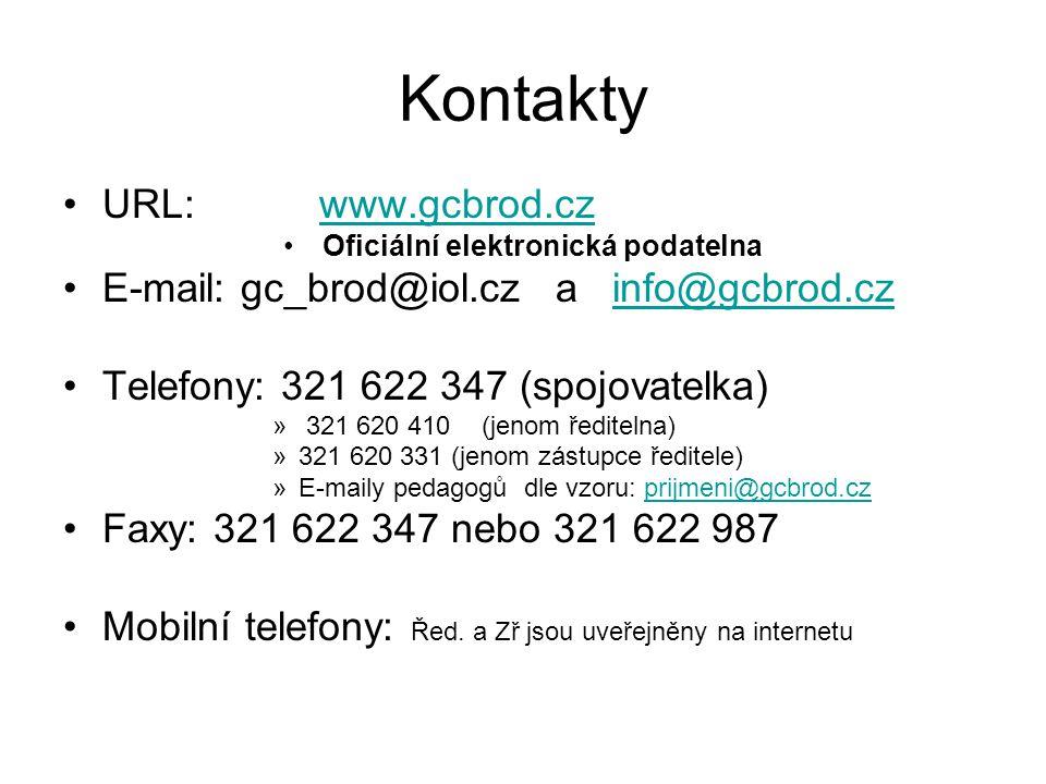 Kontakty URL: www.gcbrod.czwww.gcbrod.cz Oficiální elektronická podatelna E-mail: gc_brod@iol.cz a info@gcbrod.czinfo@gcbrod.cz Telefony: 321 622 347