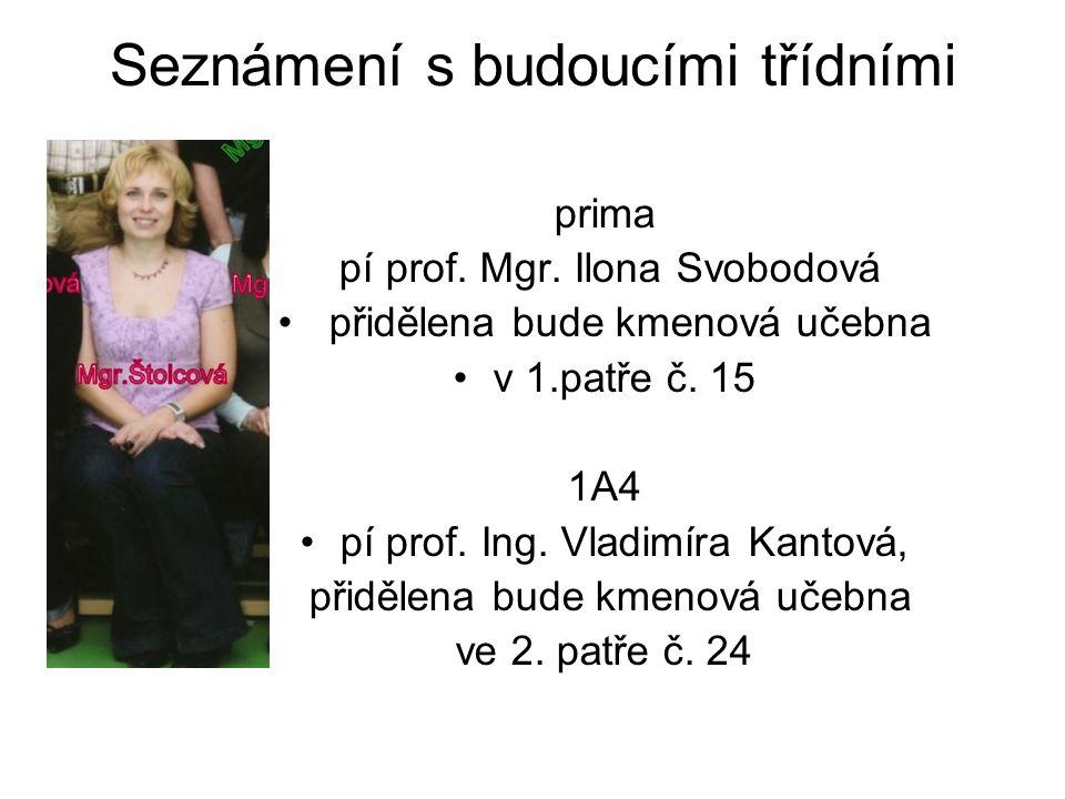 Seznámení s budoucími třídními prima pí prof. Mgr. Ilona Svobodová přidělena bude kmenová učebna v 1.patře č. 15 1A4 pí prof. Ing. Vladimíra Kantová,