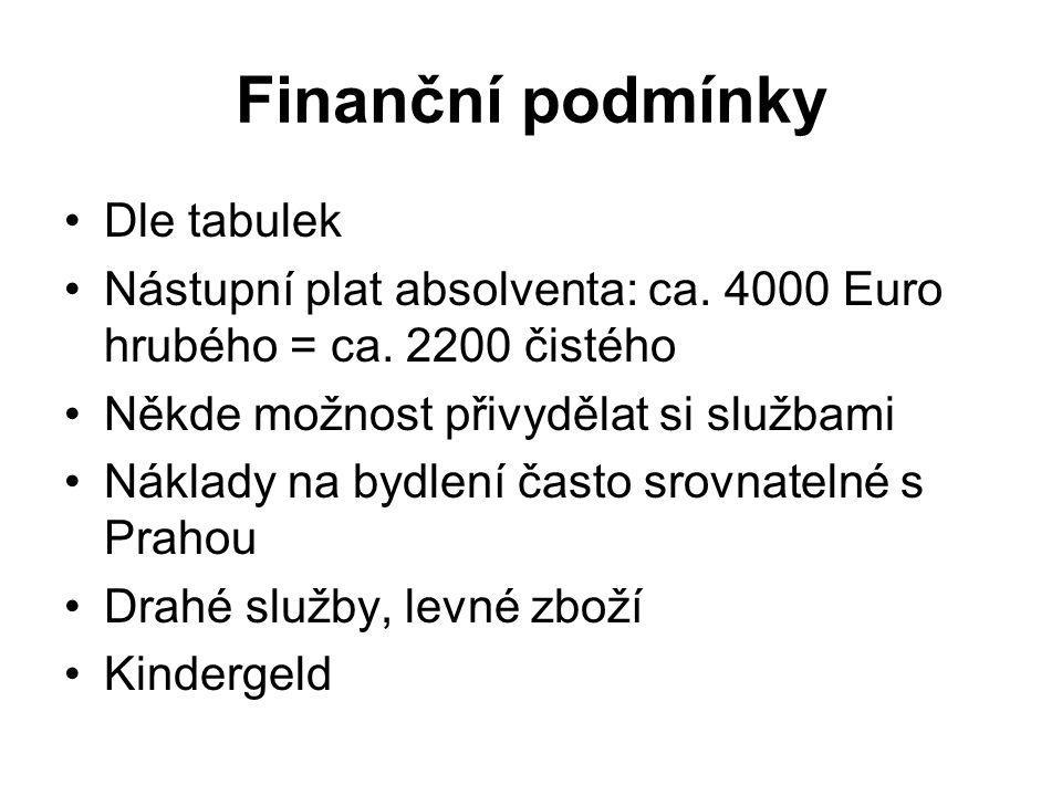 Finanční podmínky Dle tabulek Nástupní plat absolventa: ca.