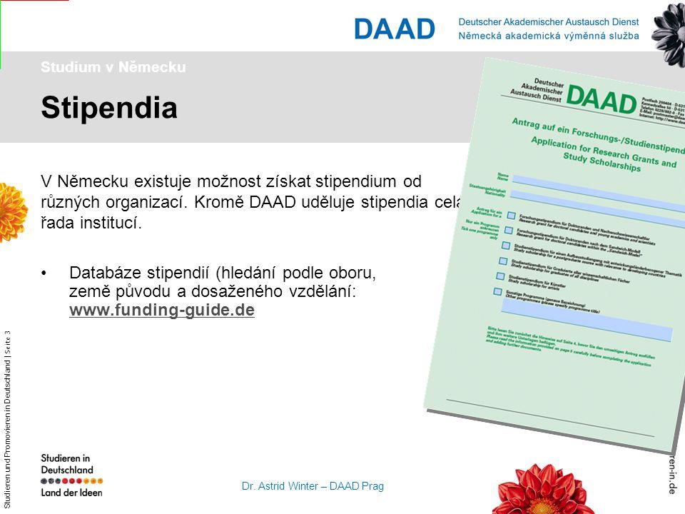 Studieren und Promovieren in Deutschland | Seite 3 Dr. Astrid Winter – DAAD Prag Stipendia Studium v Německu V Německu existuje možnost získat stipend