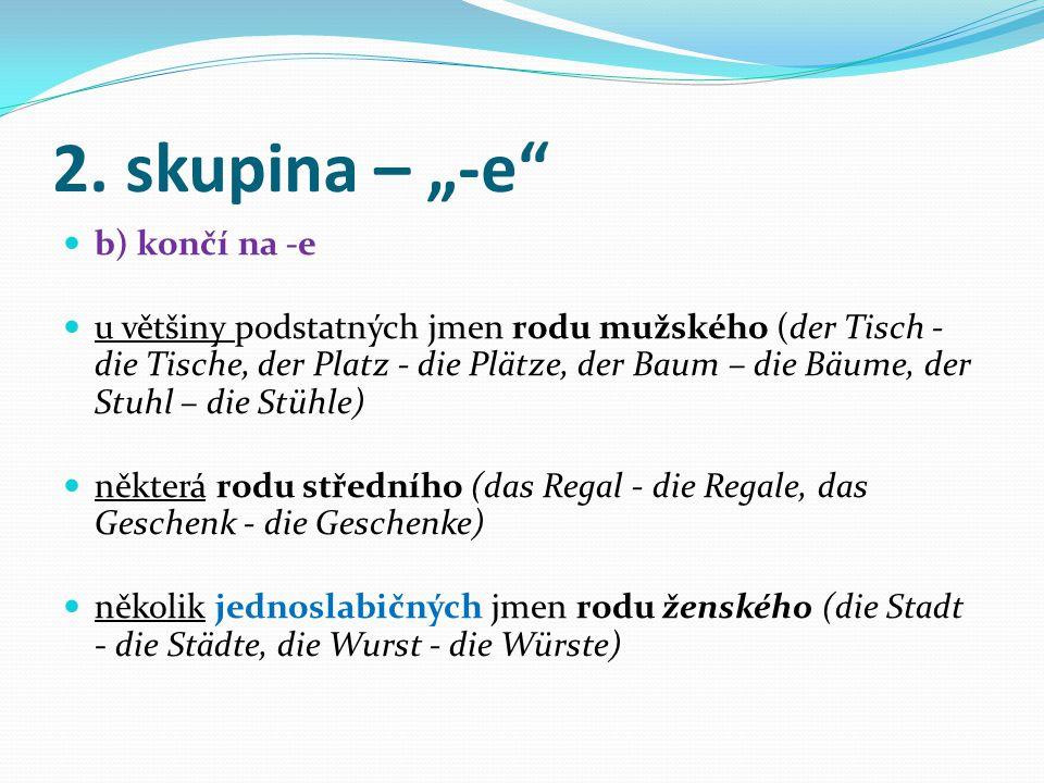 1. skupina – nulová koncovka a) koncovka nulová podstatná jména rodu mužského a středního končící na -el (der Sessel, der Pinsel), -er (das Fernster d