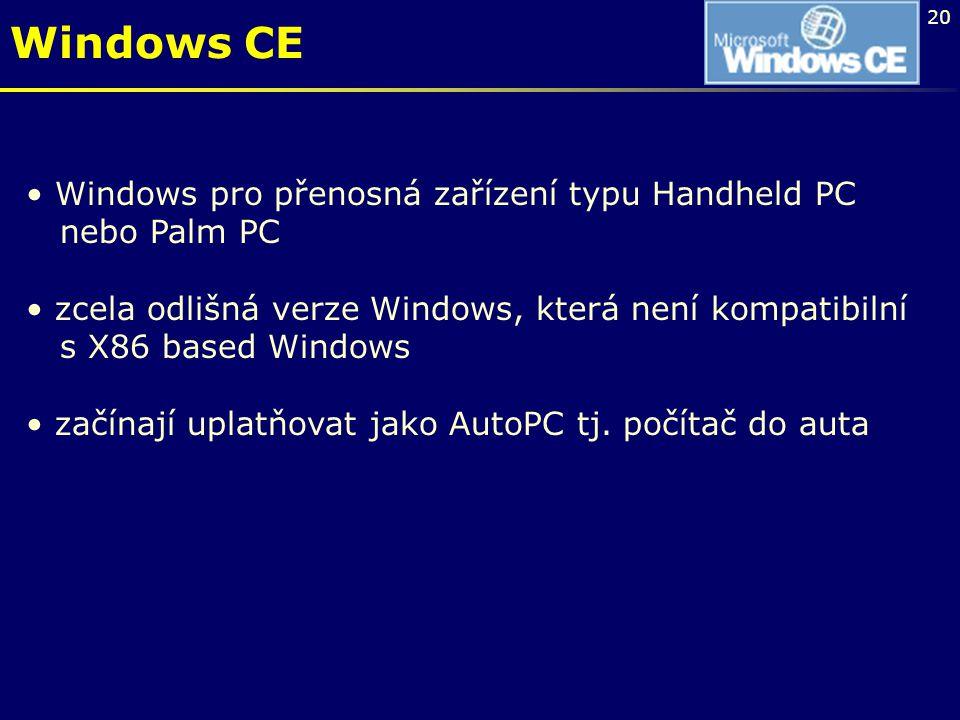 20 Windows CE Windows pro přenosná zařízení typu Handheld PC nebo Palm PC zcela odlišná verze Windows, která není kompatibilní s X86 based Windows zač