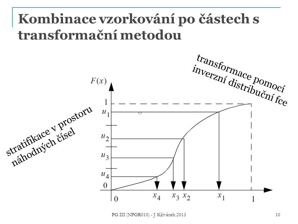 Kombinace vzorkování po částech s transformační metodou PG III (NPGR010) - J. Křivánek 2013 10 stratifikace v prostoru náhodných čísel transformace po