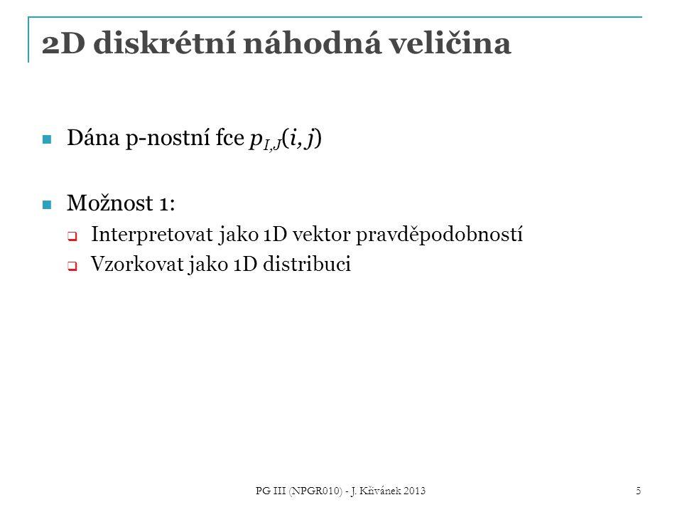 2D diskrétní náhodná veličina Dána p-nostní fce p I,J (i, j) Možnost 1:  Interpretovat jako 1D vektor pravděpodobností  Vzorkovat jako 1D distribuci