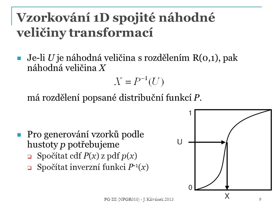 Vzorkování 1D spojité náhodné veličiny transformací Je-li U je náhodná veličina s rozdělením R(0,1), pak náhodná veličina X má rozdělení popsané distr
