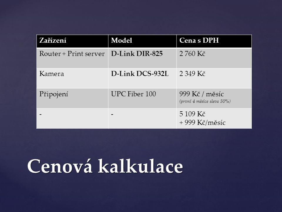 ZařízeníModelCena s DPH Router + Print serverD-Link DIR-8252 760 Kč KameraD-Link DCS-932L2 349 Kč PřipojeníUPC Fiber 100999 Kč / měsíc (první 4 měsíce sleva 50%) --5 109 Kč + 999 Kč/měsíc Cenová kalkulace